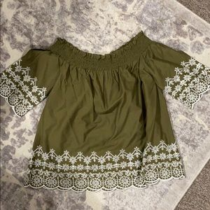 Olive Off The Shoulder Embroidered Top